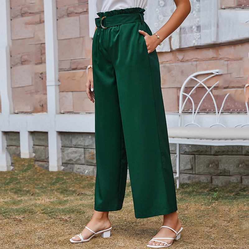 Casual Summer Women High Waist Pants Vintage Ruffle Belt Trousers Wide Leg Long Pants Women Spring Autumn Pants Women Clothing