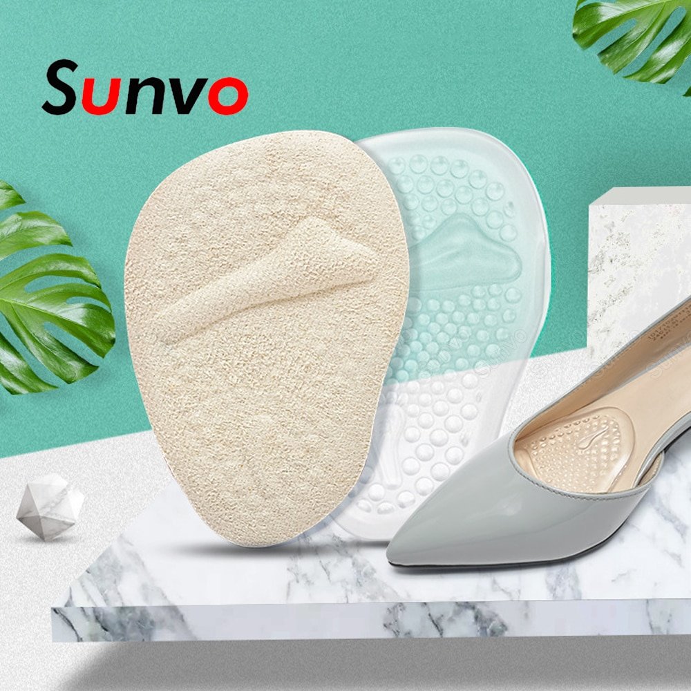 Sunvo Silicone Forefoot Insert Pain Relief Shoe Pads Anti-Slip Stickers for Shoes Women High Heels Sandels Slippers Gel Insoles