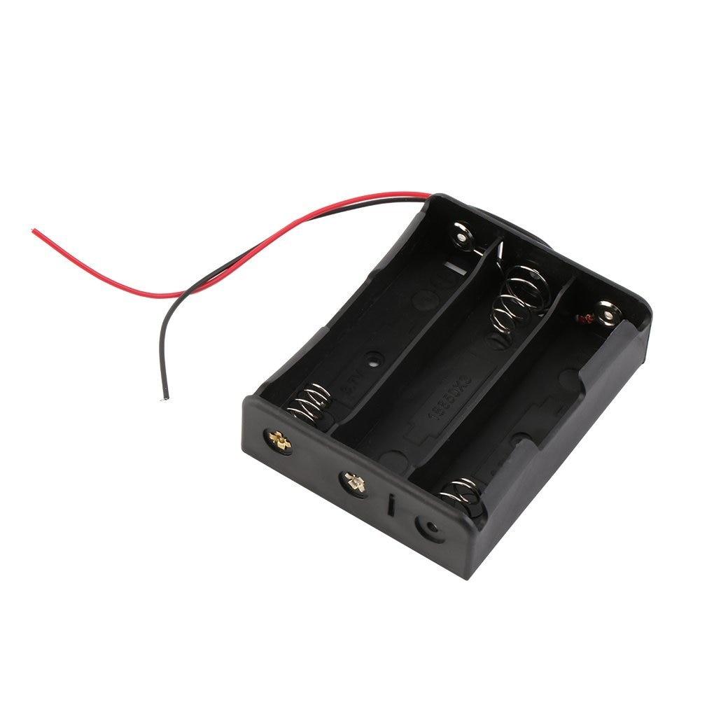 16850 caja de almacenamiento de la caja de la batería soporte de plástico con cables para 3x18650 baterías soldadura Cnnecting negro al por mayor