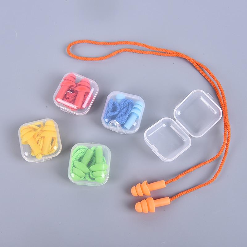 Комплект из 2 предметов, мягкие носки с противоскользящим покрытием, Шум затычка для ушей Водонепроницаемый плавательный силиконовые ушные затычки для плавания, способный преодолевать Броды для взрослых детей пловцов для дайвинга с веревкой, комплект из 2 предметов-1