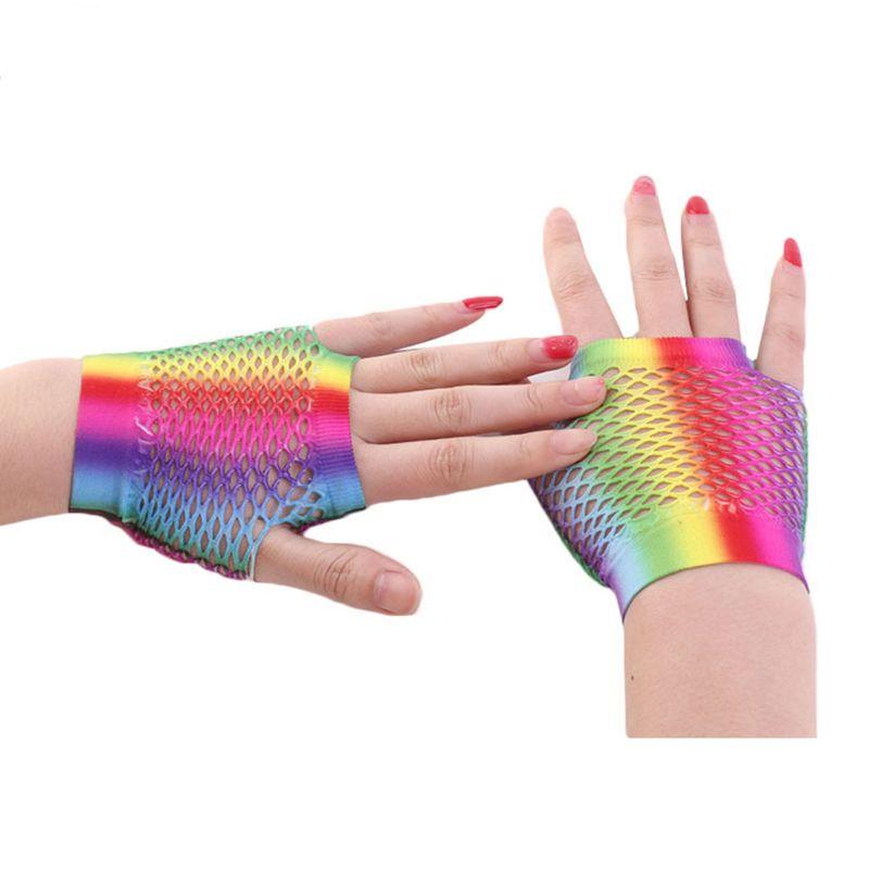 Fashion Lady Women Color Fishing Net Short Gloves Wedding Dress Bride Bridesmaid Half Finger Glove P