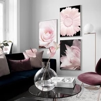 pink rose chrysanthemum peony flower canvas painting nordic fresh plant posters and prints wall art pictures for living room