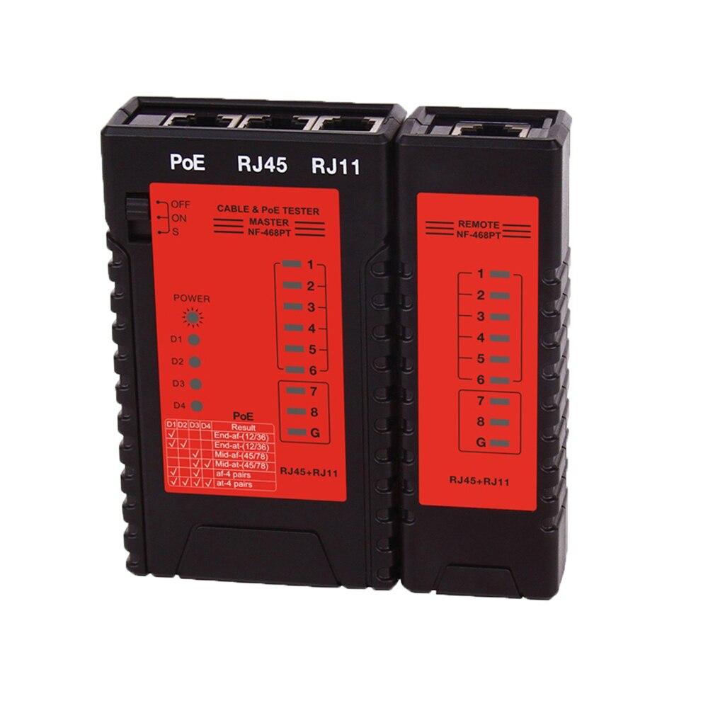Probador de Cable de red de NF-468PT de instrumentos RJ45 RJ11 probador de interruptor de PoE para Ethernet LAN Cable fijo de teléfono herramienta de prueba de Cable