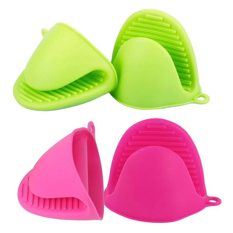 2 pares de guantes de cocina resistentes al calor de silicona, guantes de cocina para cocinar y hornear, verde + rosa roja