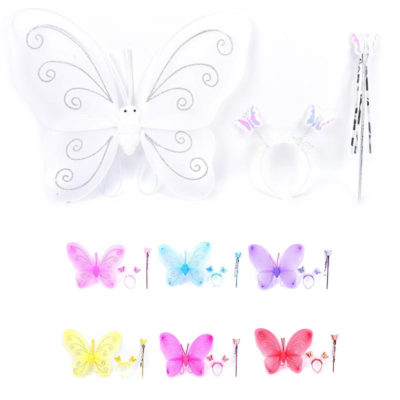 3pcs/set Butterfly Wing Wand Headband Lovely Party Costume Princess Girl Kids Fairy Xmas Costume Set