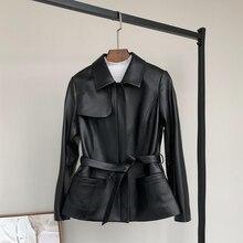 Nerazzurri black spring faux leather jacket women 2020 belt zipper long sleeve slim fit plus size leather jackets for women coat