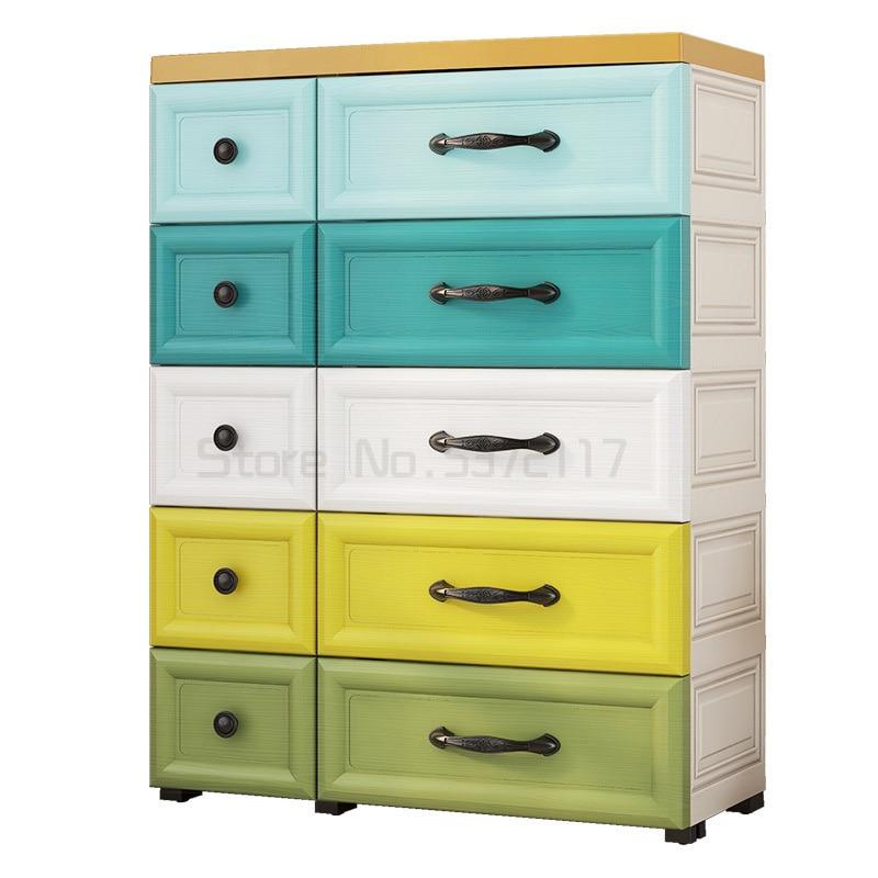 المنزلية واسعة وسميكة البلاستيك خزانة تخزين متعددة الأدراج الطفل خزانة الأطفال خزانة أدراج متعددة الطبقات