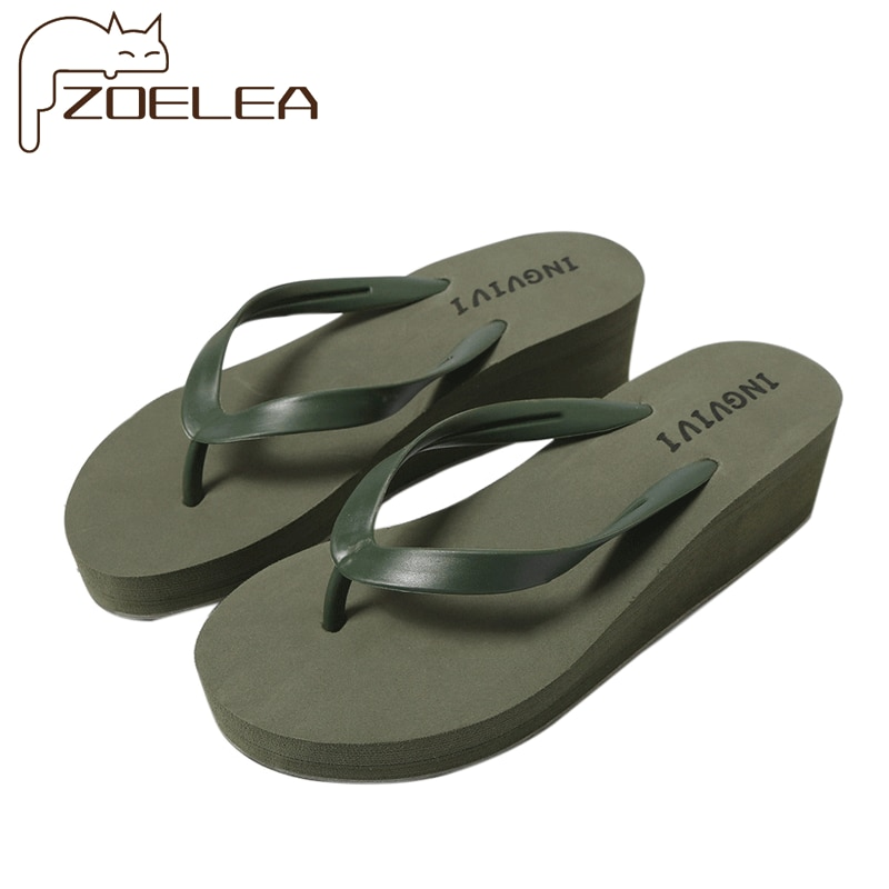 new arrival women summer sandals slippers leisure soft flip flops striped round toe casual shoes high quality beach slippers s 2021 EVA Women Flip Flops Summer Beach Platform Slippers Casual Outside Wedges Sandals Summer Women Shoes Leisure Slippers
