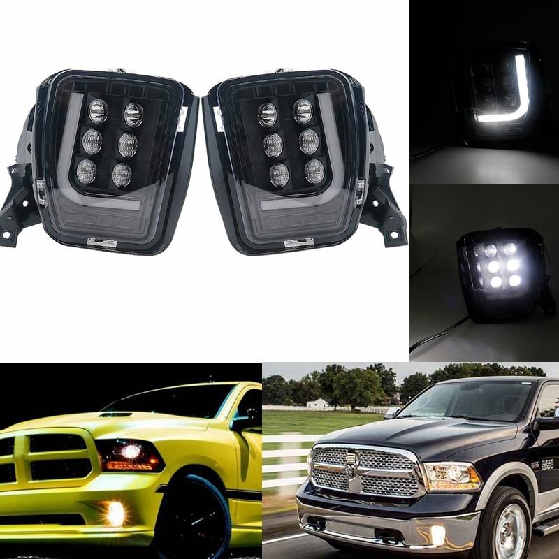 For Dodge RAM 1500 2013-2018 Led Fog Driving Light Fog Lamp Assembly with bright LED DRL