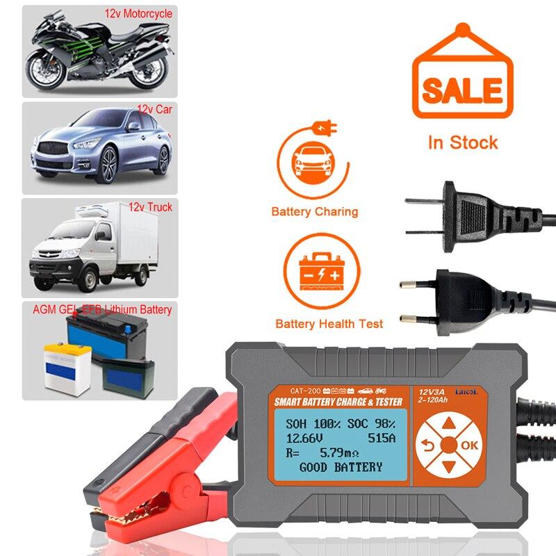Probador de batería de coche cargador analizador 12V 3A 2-120AH LCD pantalla Plomo-Aicd inteligente automático Analizador de batería nuevo