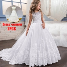 PLBBFZ Summer White Kids Clothes First Bridesmaid Girls Dress Children Pageant Party Wedding Princes