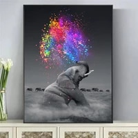 colorful fantasy elephant animals canvas paintings posters and print wall art elephant pictures cuadros for living room decor