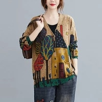 women autumn cardigan sweaters new 2020 arts style vintage print v neck loose comfortable female knitted cardigan coats