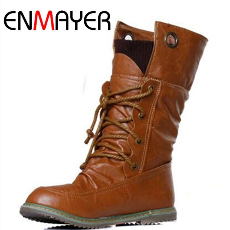 ENMAYER moda motocicleta invierno media pantorrilla zapatos bajos botas mujer de talla grande 34-43 zapatos mujer botas