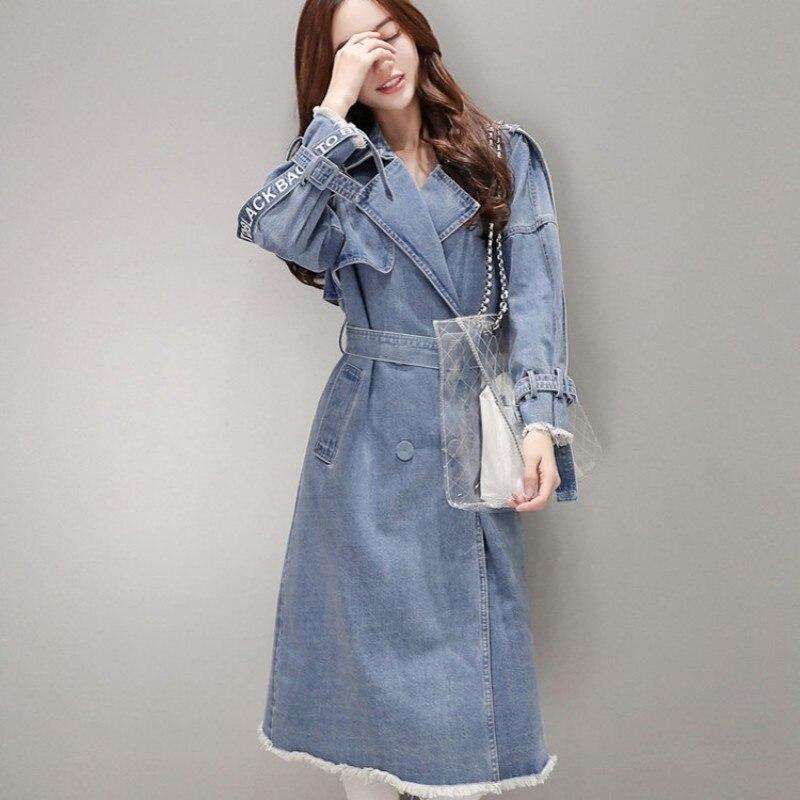 معطف طويل من الدنيم على الطراز الكوري للنساء ، ملابس خروج زرقاء نحيفة مزدوجة الصدر ، مع حزام غير رسمي ، مجموعة الربيع والخريف