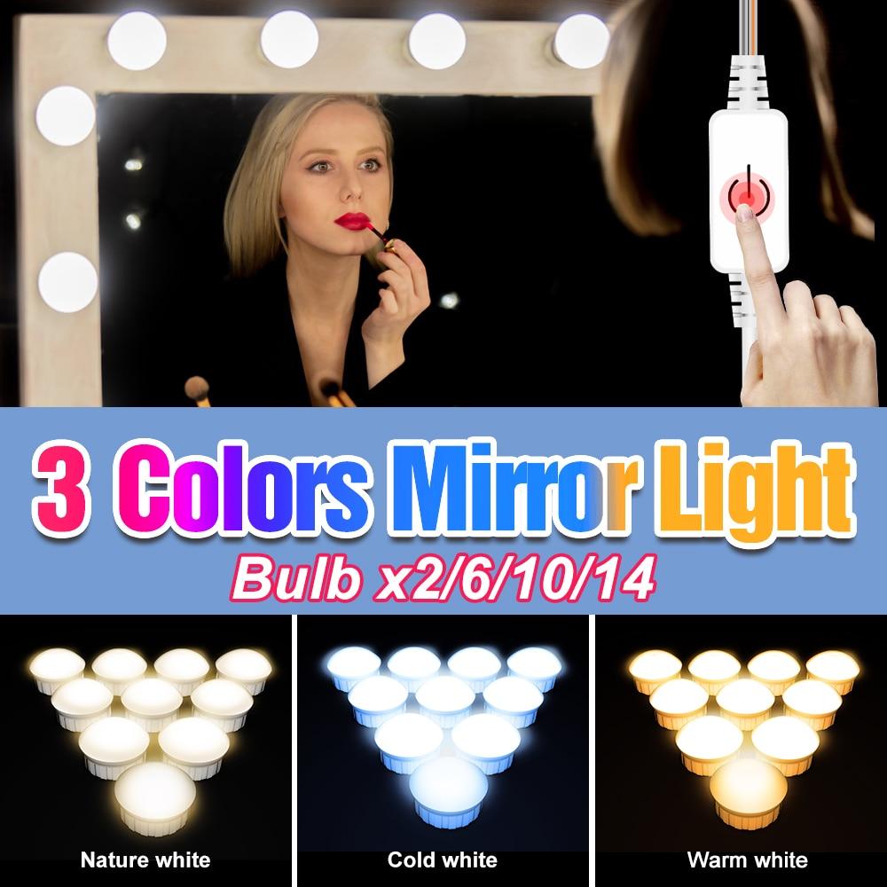 3 Colors 2 6 10 14 Bulbs Adjustable Brightness Mirror Light LED Dressing Table 12V USB Vanity Makeup Lamp Bedroom Cosmetic Light