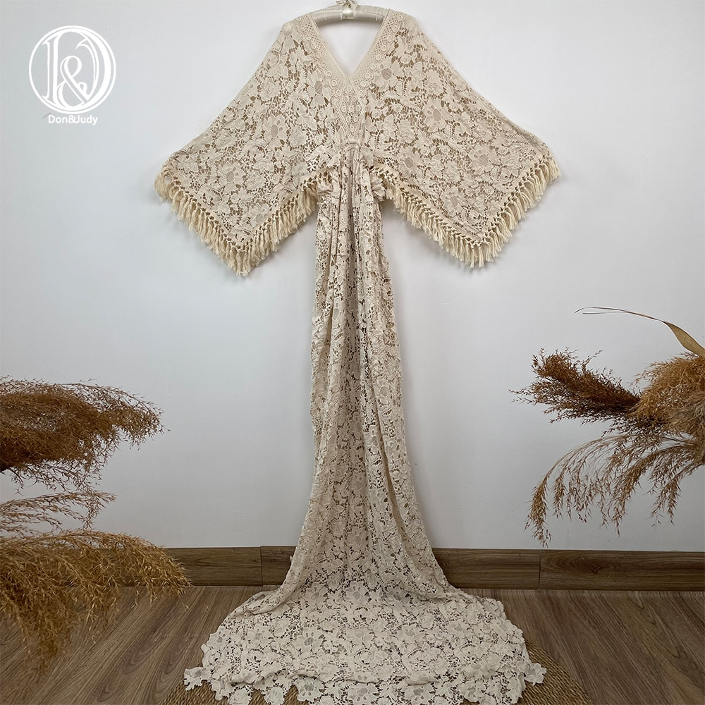 Don&Judy 2021 Boho Style Maternity Dress For Photography Maternity Maxi Gown Pregnancy Women Embroidery Dresses Photo Shoot