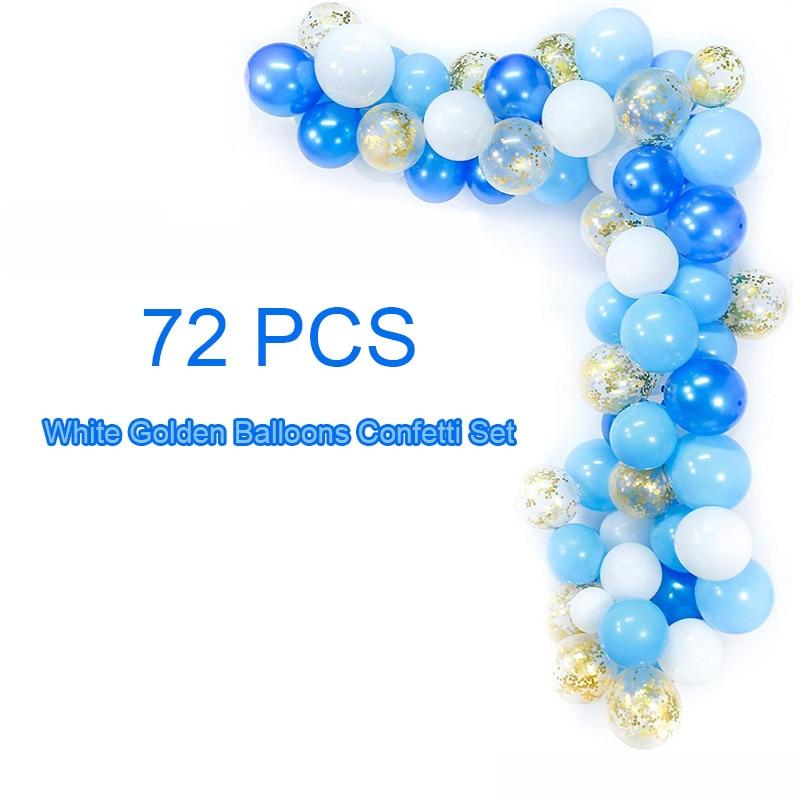 70 قطعة 12 بوصة الأزرق الأبيض الذهبي بالونات قوس النثار مجموعة الساحرة عيد ميلاد حفل زفاف الذكرى الطفل زينة الحمام