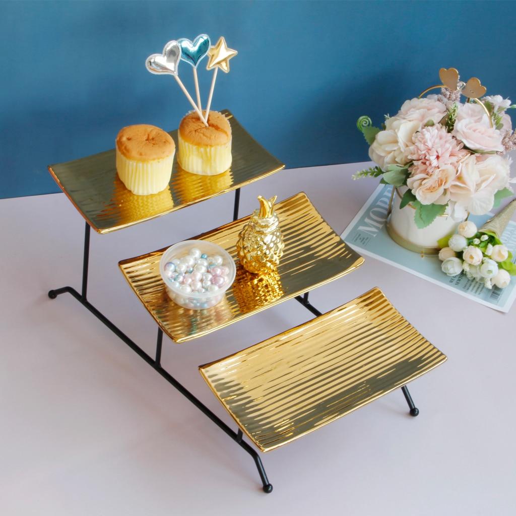 لطي 3 طبقة مستطيلة لوحة الحلوى حامل أطباق فاكهه صينية تقديم الكيك