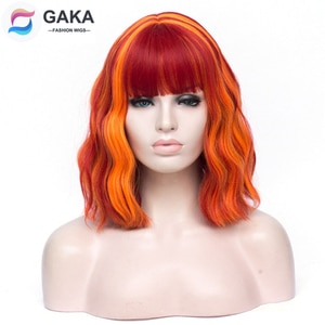 GAKA Women Ombre Bob Wig Orange Rainbow Indecent Short Deep Wave Synthetic Cosplay Wigs Pink White Green Highlight Hair