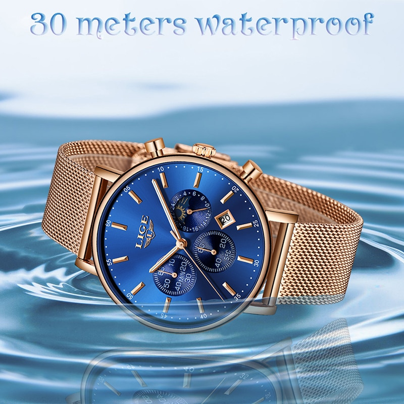 LIGE Womens Watches Fashion Stainless Steel Waterproof Analog Quartz Watch Women Top Brand luxury Casual Sports Chronograph enlarge