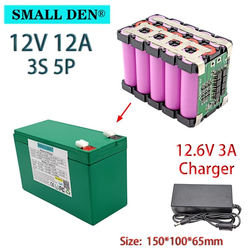 12v 12ah 18650 bateria de lítio built-in bms pulverizador câmera de vigilância, energia de backup bateria solar + 12.6v 3a carregador