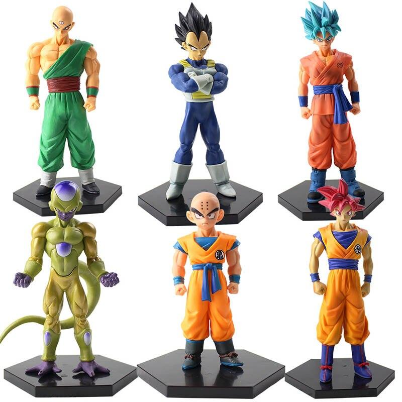 6 pçs/lote 10-17cm Shinhan Kulilin Tien Dragon Ball Z Son Goku Vegeta Frieza toy modelo PVC Action Figure Toy Modelo com base preta