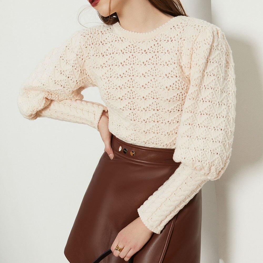 Sweter damski jesień długie rękawy z dziurką modne O-Neck wszystkie mecze Vintage Retro kobiece elegancka dzianina topy Slim słodkie swetry