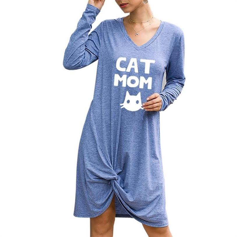 Nueva camiseta para mujeres Twisted Vestido de manga larga gato mamá letras impresión Tops camiseta más tamaño Punk verano Tumblr Kyliejenner