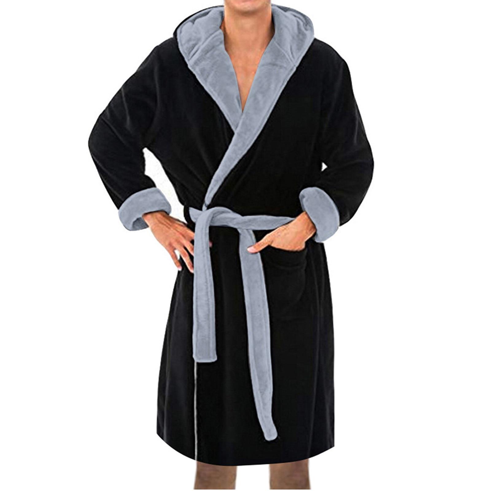 Мужчины% 27 Зима Теплые Халаты Толстые Удлиненные Плюшевые Шаль Халат Кимоно Дом Одежда Длинные Рукава Халат Пальто