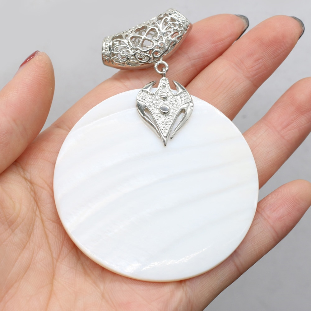 Natural Mother of Pearl Shell Pendant Disc Shape White Shells Charms for Jewelry Making Handmade DIY Necklace Accessories Gift  - buy with discount
