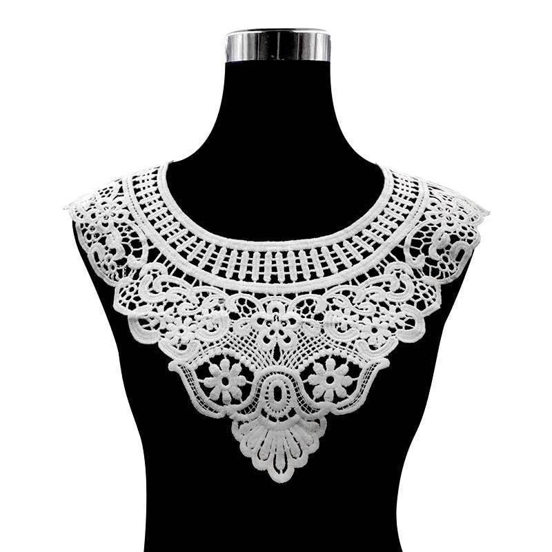 Vestido de encaje blanco de lujo 3d de tela de encaje de corte hueco bordado flores de cuello parches de encaje