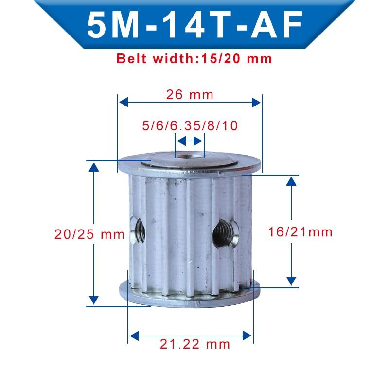 Polea De distribución 5M-14T diámetro 5/6/6.35/8/10mm Material de aluminio correa de polea de ancho 16/21mm para ancho 15/20mm 5m-correa de distribución