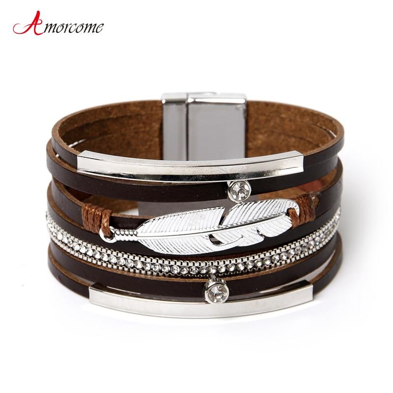 aliexpress.com - Amorcome Ethnic Braided Wide Cuff Bracelets Bohemian Rhinestone Metal Feather Leather Wrap Bracelet 2021 Female Jewelry Gift