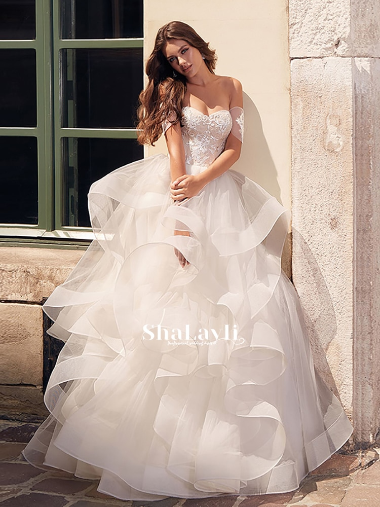 Get Romantic And Elegant Wedding Applique Tulle Tube Top Short Sleeve Back Tie No Train Princess Ball Gown Dresses  Customization