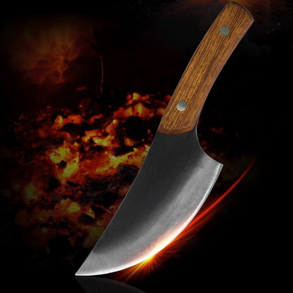 Sowoll מטבח סכינים בעבודת יד מזויף הקצב סכין מלא טאנג ידית גבוהה בלבוש פלדה בשר קליבר בישול סכין מטבח כלים