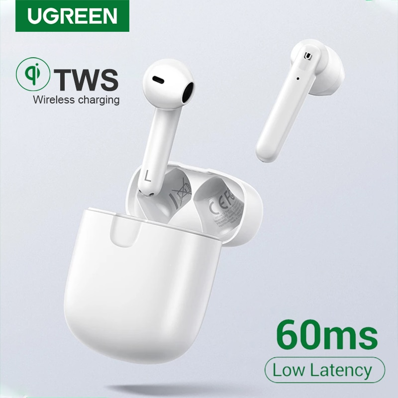 Ugreen هيتون T2 بلوتوث 5.0 سماعة سمّاعات أذن لاسلكيّة TWS سماعات وضع الألعاب الكمون المنخفض ستيريو باس مع مايكروفون سماعة