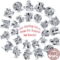 hot 100 925 silver 26 english alphabet flower charms pendant beads suitable for original pandora bracelet diy making