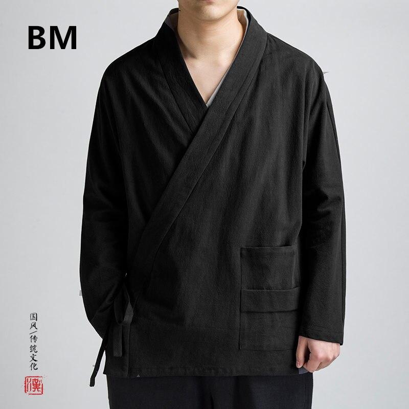 2020 النمط الصيني المائل مدخل الحرس قميص الربيع الخريف القطن الكتان الرجعية Hanfu معطف الرجال الملابس حجم كبير الذكور