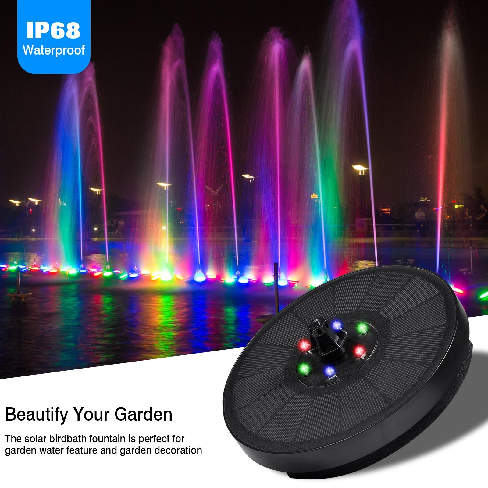 7 فولت/3 واط نافورة شمسية 6 أضواء السباحة مضخة لوحة نافورة شمسية حديقة الديكور IP68 مقاوم للماء بركة نافورة ملونة