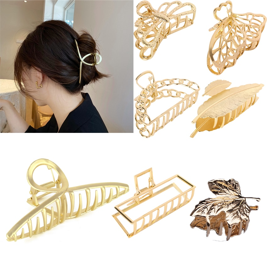 Women girls Alloy Simple Geometric Hair Claws Clips Clamp Headdress Back head hair claws Scrunchies hair accessories for women simple semicycle alloy decorated hair band for women