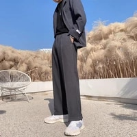 spring summer drape wide leg pants men korean fashion loose solid color suit pants men streetwear straight casual pants men