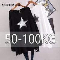 2021 springautumn new ovesize loose long sleeve women t shirt fashion printed casual style t shirt plus size primer shirt 100kg