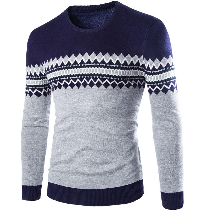 Свитер, пуловер, мужской брендовый Повседневный приталенный свитер, мужской облегающий пуловер в британском стиле, мужской свитер с круглы...