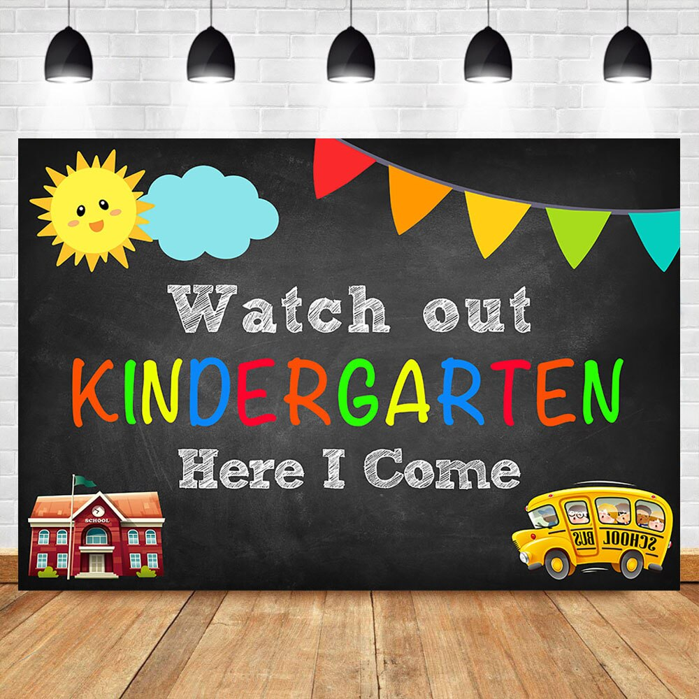 NeoBack Watch out Kindergarten Photography Backdrops School Bus School Here i come Kids Party Banner