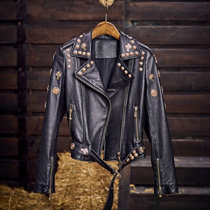 Luxury Brand Designer Rivet Gothic Punk Real Sheepskin Genuine Leather Jackets Slim Motorcycle Biker Ladies Coats Chaqueta Mujer