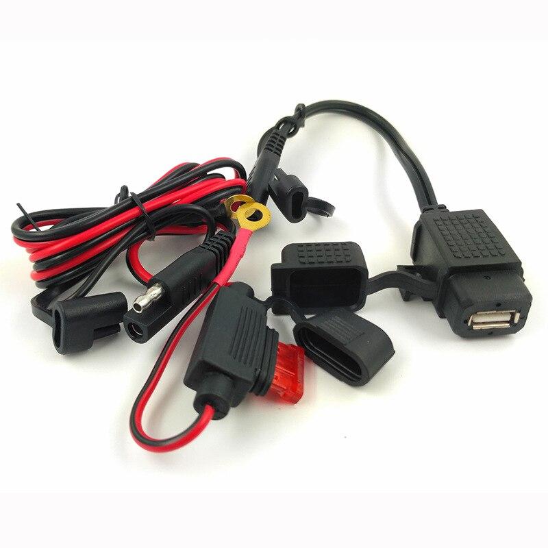 DIY SAE к USB кабель адаптер водонепроницаемый USB зарядное устройство быстрый 2.1A порт 120 см кабель Встроенный предохранитель для мотоцикла мобильного телефона планшета gps