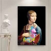 famous lady with an ermine wall art canvas print painting decorative funny pearl girl picture for living room room decoration