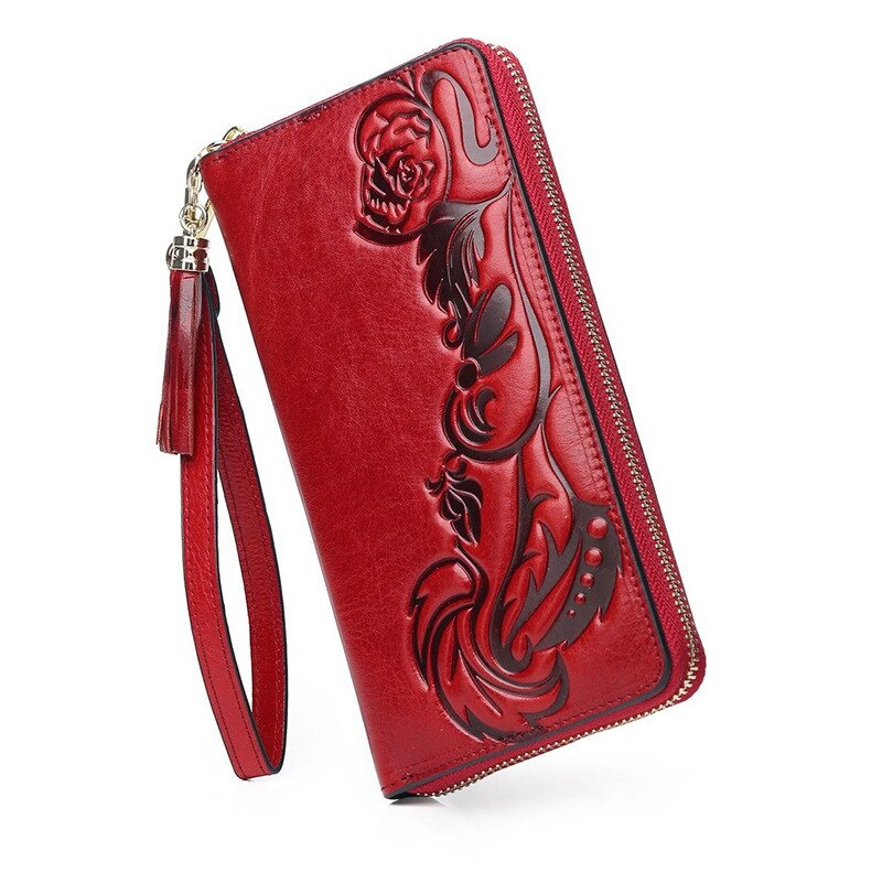 floral women wallets genuine leather purse women long womens leather purses large capacity woman clu