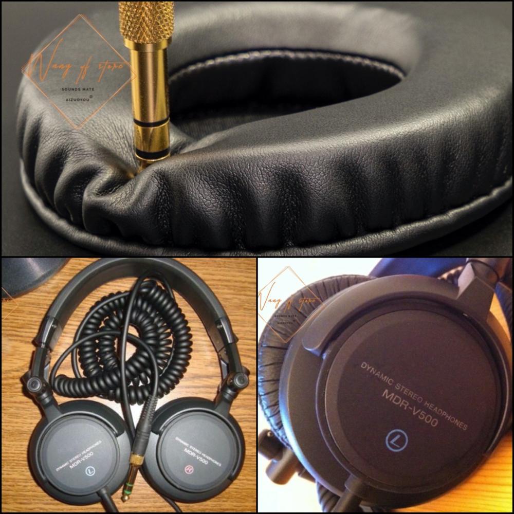 Orejeras de cuero suave, orejeras de cojín de espuma para auriculares Sony MDR-V500, calidad perfecta, no versión barata